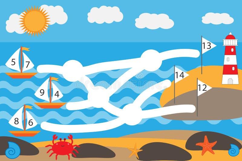 Wiskundespel voor kinderen, loodschepen door labyrint om vlaggen, het spel van het onderwijslabyrint voor jonge geitjes te verbet stock illustratie