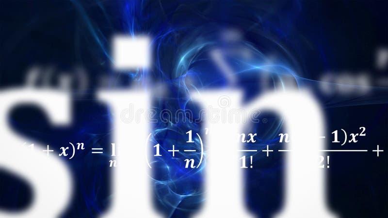 Wiskundevergelijkingen die en in afstand vliegen verdwijnen stock afbeelding