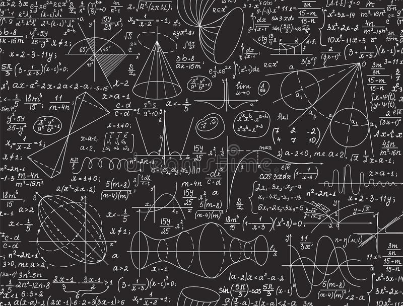 Wiskundig onderwijs vector naadloos patroon met met de hand geschreven cijfers, algebraberekeningen en vergelijkingen stock illustratie