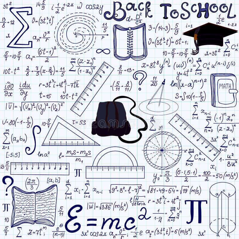 Wiskundig onderwijs vector naadloos patroon met meetkundecijfers, percelen, vergelijkingen, woorden terug naar school vector illustratie