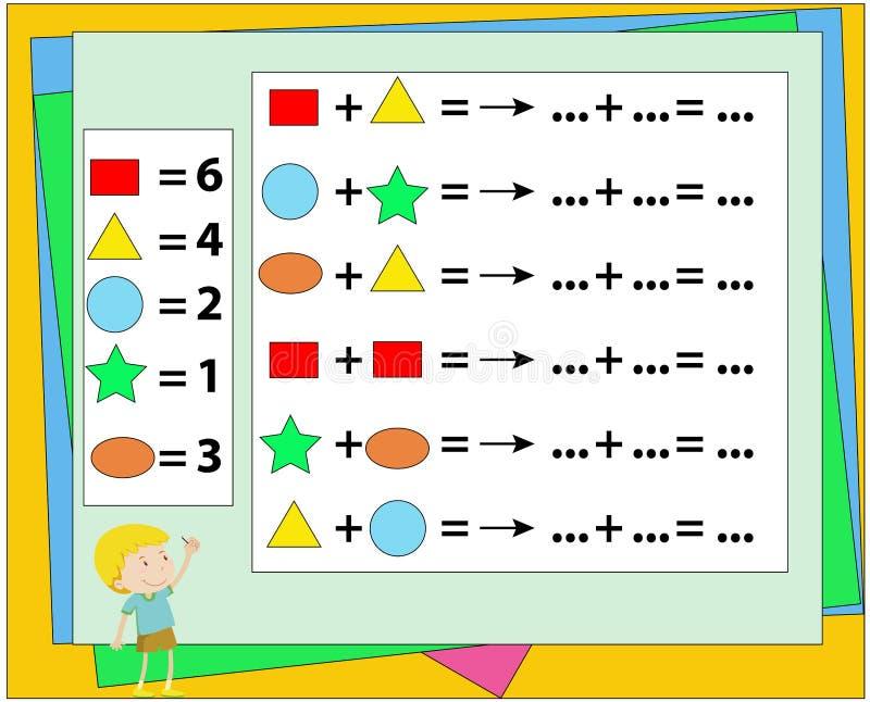 Wiskundig raadselspel Het leren wiskunde, taken voor toevoeging voor peuterkinderen Aantekenvel voor peuterjonge geitjes Het lere royalty-vrije illustratie