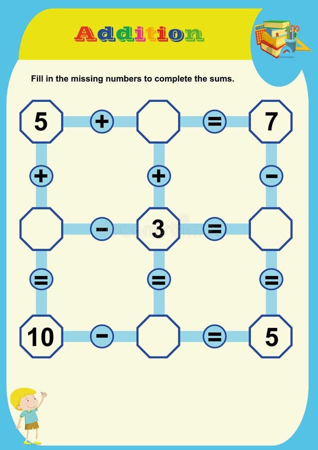 Wiskundig raadselspel Het leren wiskunde, taken voor toevoeging voor peuterkinderen Aantekenvel voor peuterjonge geitjes Het lere stock illustratie