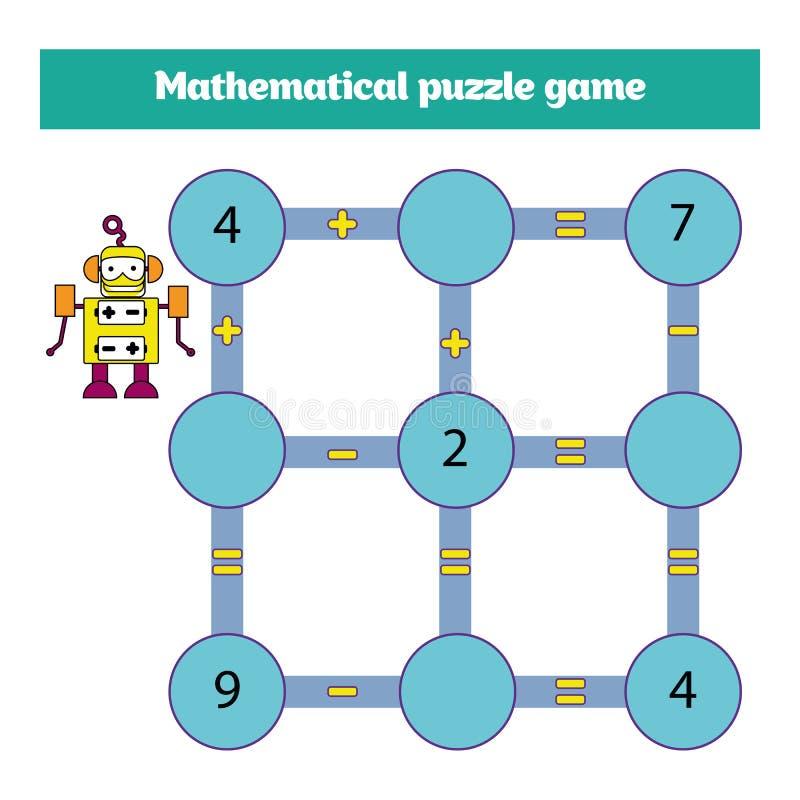 Wiskundig raadselspel Het leren wiskunde, taken voor toevoeging voor peuterkinderen aantekenvel voor peuterjonge geitjes - vector royalty-vrije illustratie