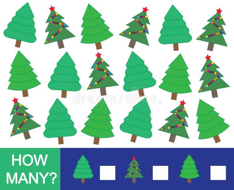Wiskundig spel voor kinderen Hoeveel Kerstboomspar royalty-vrije illustratie
