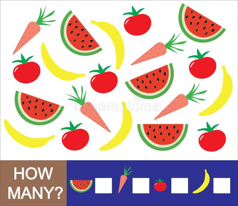 Wiskundig spel voor peuterkinderen Tel hoeveel vruchten, bessen en groentenbanaan, watermeloen, tomaat, wortel lear vector illustratie