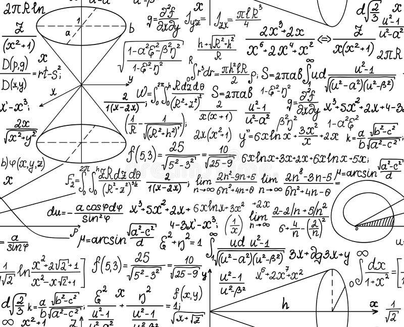 Wiskundig vector naadloos patroon met cijfers en berekeningen royalty-vrije illustratie
