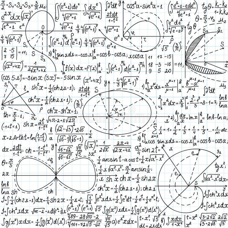 Wiskundig vector naadloos patroon met formules, percelen en vergelijkingen royalty-vrije illustratie