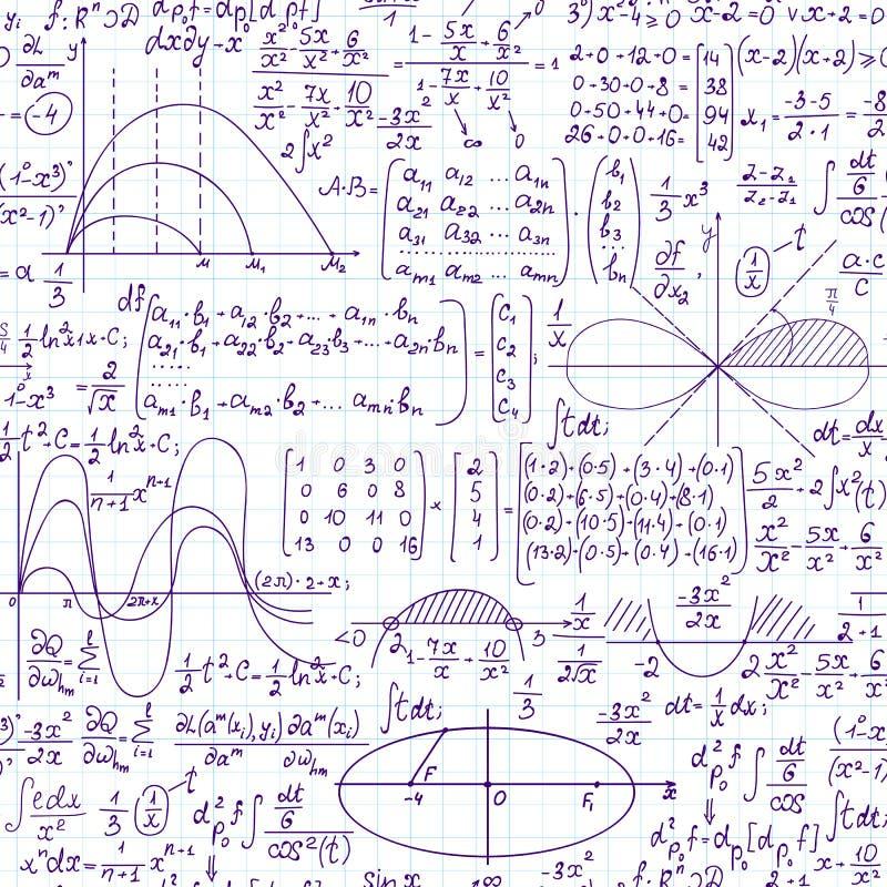 Wiskundig vector naadloos patroon met formules, percelen en vergelijkingen stock illustratie