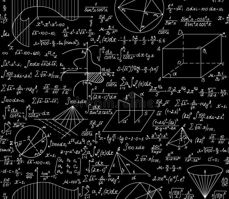 Wiskundig vector naadloos patroon met formules, percelen, functies, vergelijkingen en algebraïsche en geometrische cijfers vector illustratie