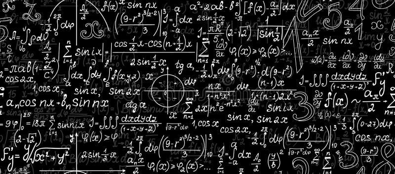 Wiskundig vector naadloos patroon met geometrische cijfers, percelen en berekeningen vector illustratie