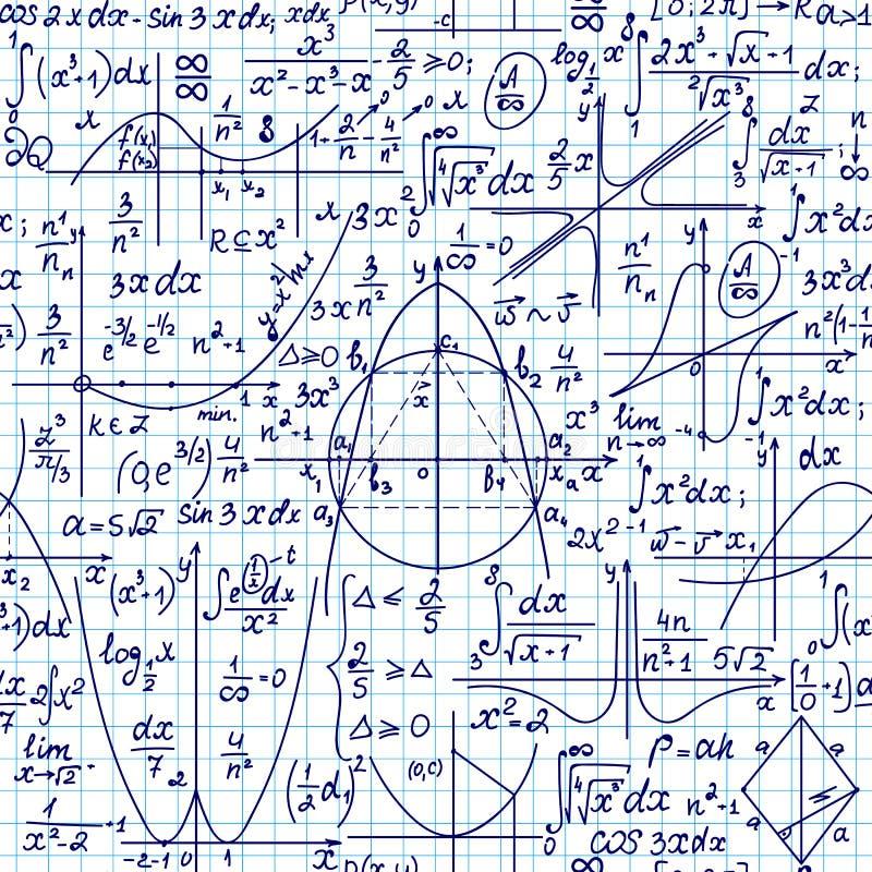 Wiskundig vector naadloos patroon met geometrische cijfers, percelen en formules, 'met de hand geschreven op een document van het stock illustratie