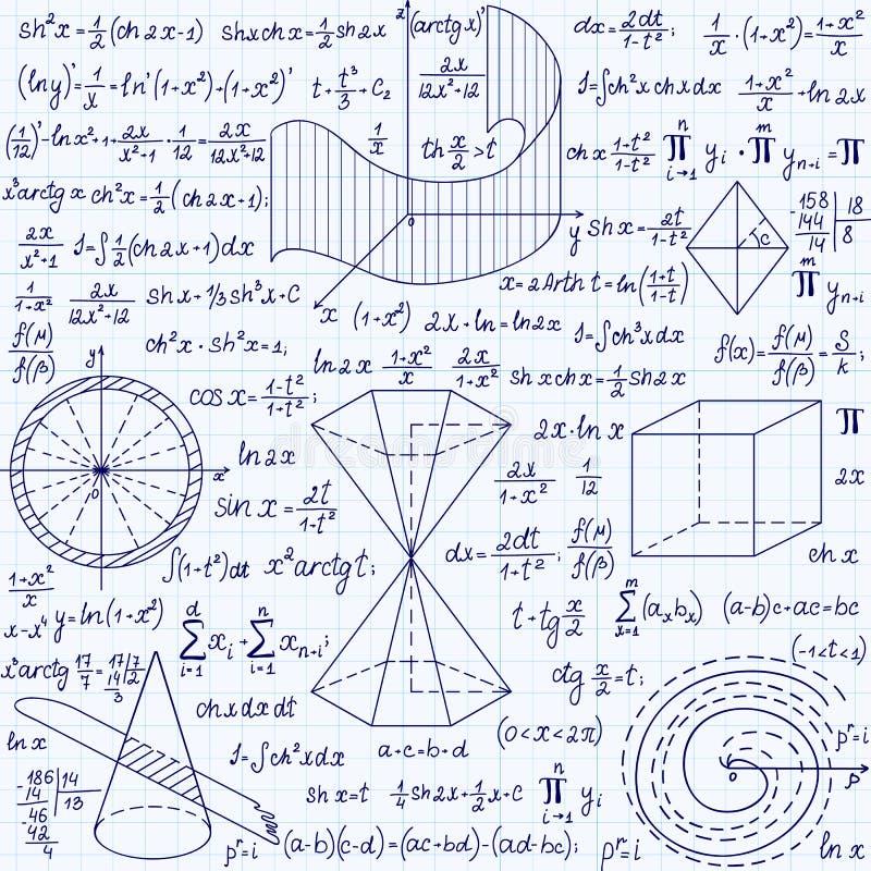 Wiskundig vector naadloos patroon met geometrische cijfers, percelen en formules vector illustratie