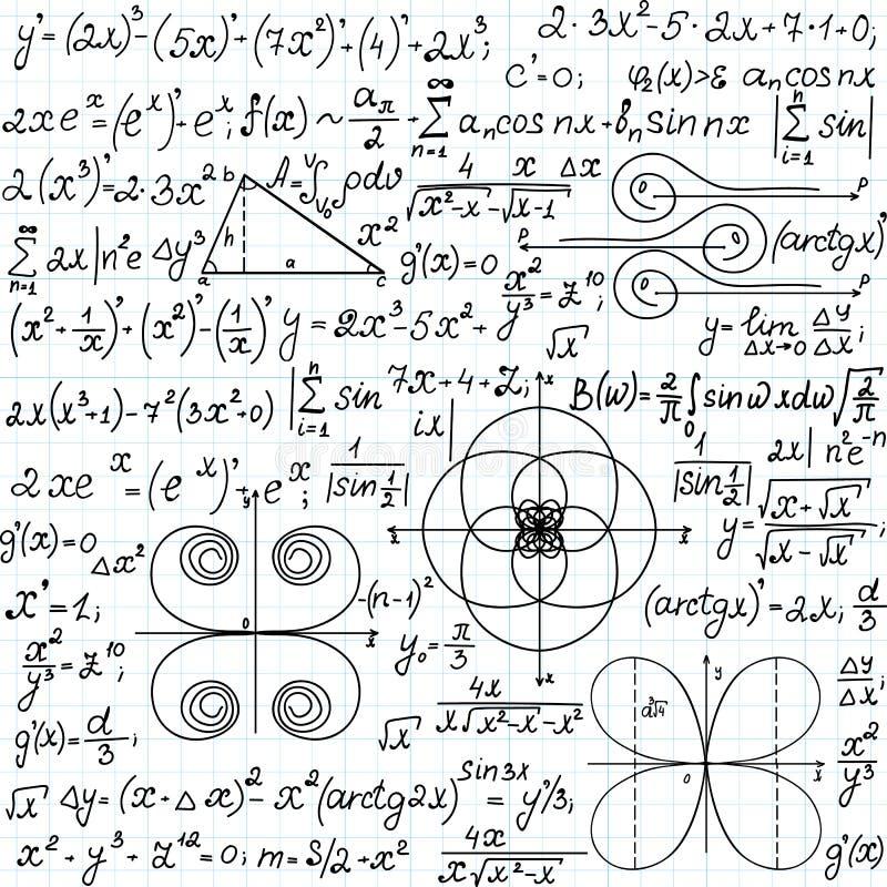 Wiskundig vector naadloos patroon met geometrische cijfers, percelen en vergelijkingen, met de hand geschreven op het document va vector illustratie