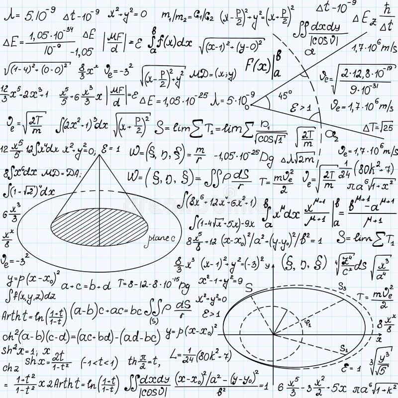 Wiskundig vector naadloos patroon met geometrische cijfers, percelen en vergelijkingen, met de hand geschreven op het document va stock illustratie