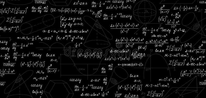 Wiskundig vector naadloos patroon met geometrische percelen, cijfers, vergelijkingen, formules en berekeningen Eindeloze wiskunde vector illustratie