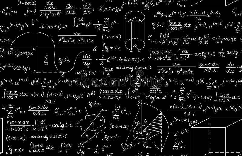 Wiskundig vector naadloos patroon met geometrische percelen, formules en berekeningen stock illustratie