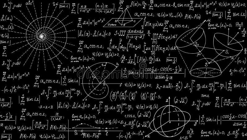 Wiskundig vector naadloos patroon met geometrische percelen, formules en berekeningen Eindeloze textuur stock illustratie