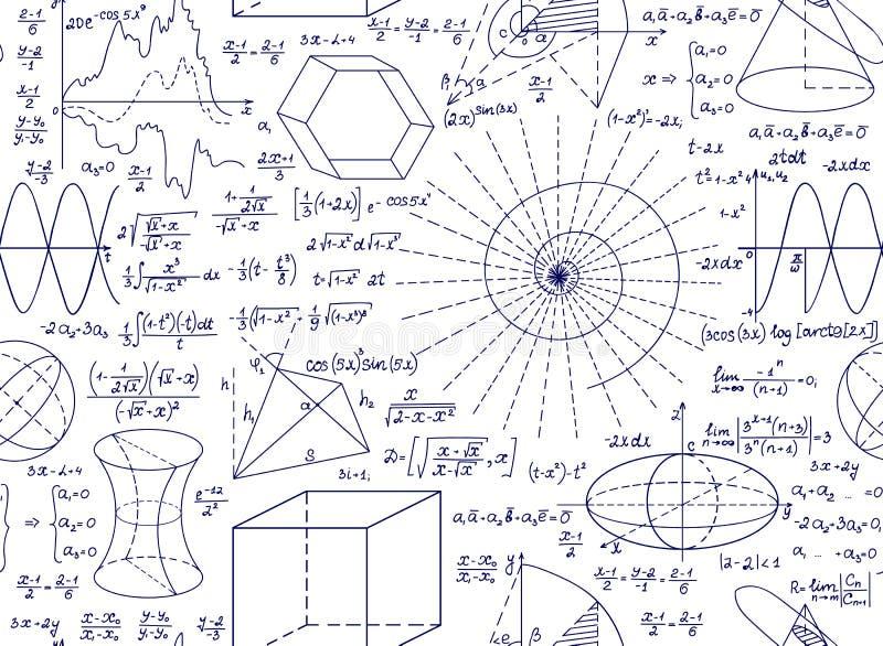 Wiskundig vector naadloos patroon met percelen, cijfers en formules stock illustratie
