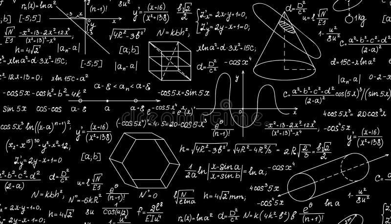 Wiskundig vector naadloos patroon met percelen, formules en geometrische cijfers Eindeloze wiskundetextuur vector illustratie