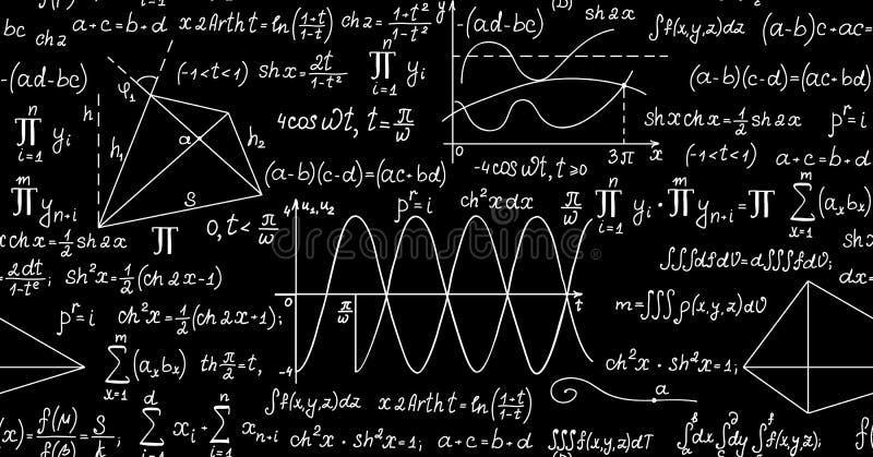 Wiskundig vector naadloos patroon met percelen, formules, geometrische cijfers en berekeningen royalty-vrije illustratie