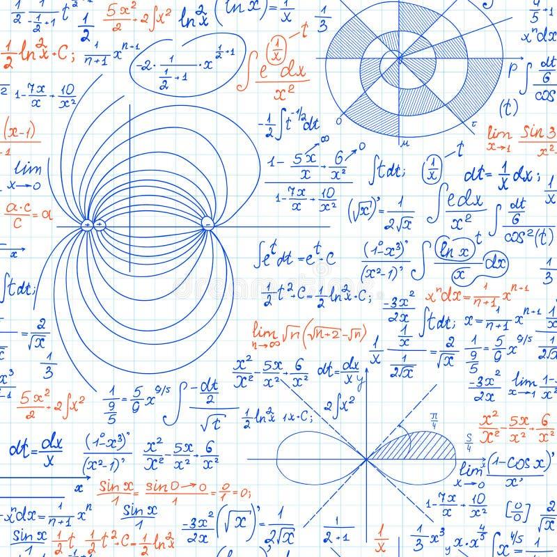 Wiskundig vector naadloos patroon met wiskunde en fysieke formules, berekeningen en percelen royalty-vrije illustratie