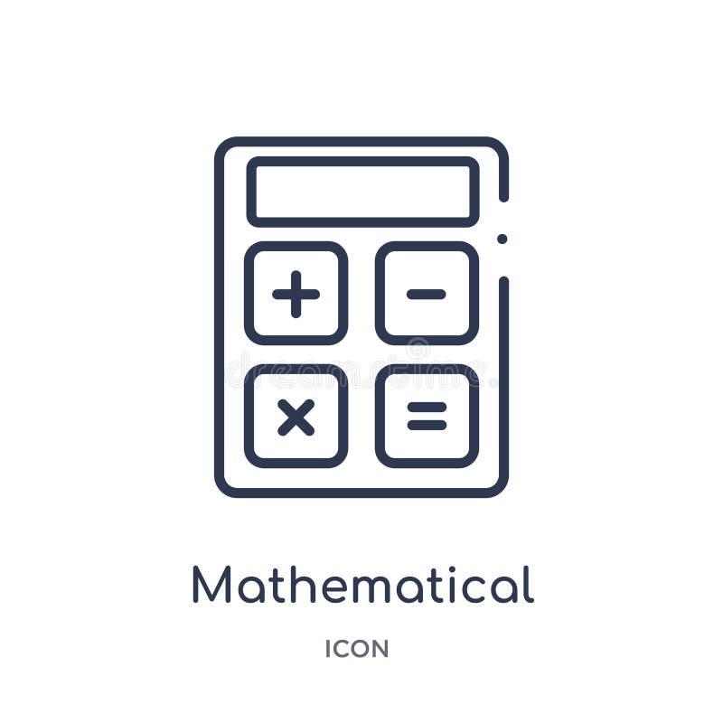 wiskundig verrichtingenpictogram van de inzameling van het technologieoverzicht Het dunne pictogram van lijn wiskundige die verri stock illustratie
