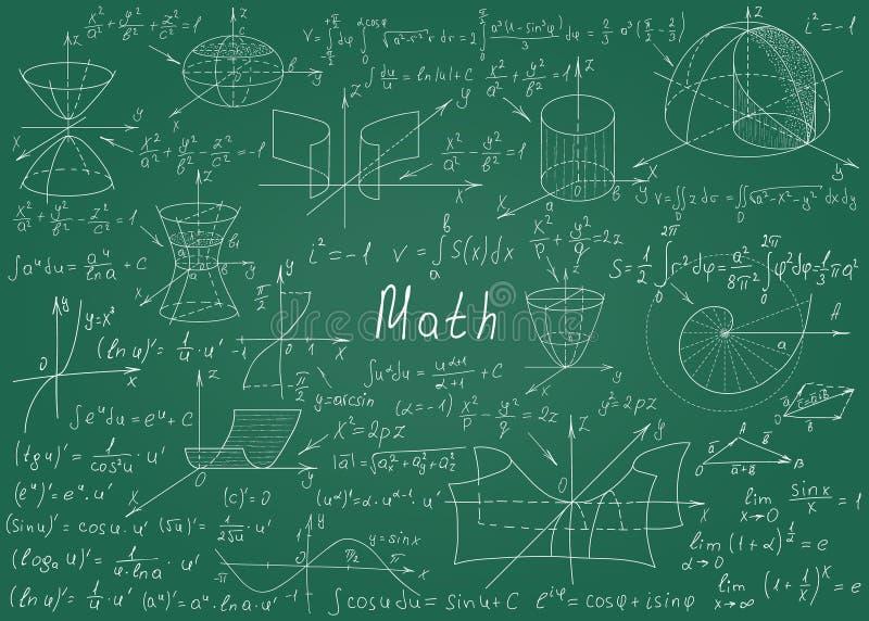 Wiskundige die formules met de hand op een groen bord voor de achtergrond worden getrokken Vector illustratie royalty-vrije illustratie
