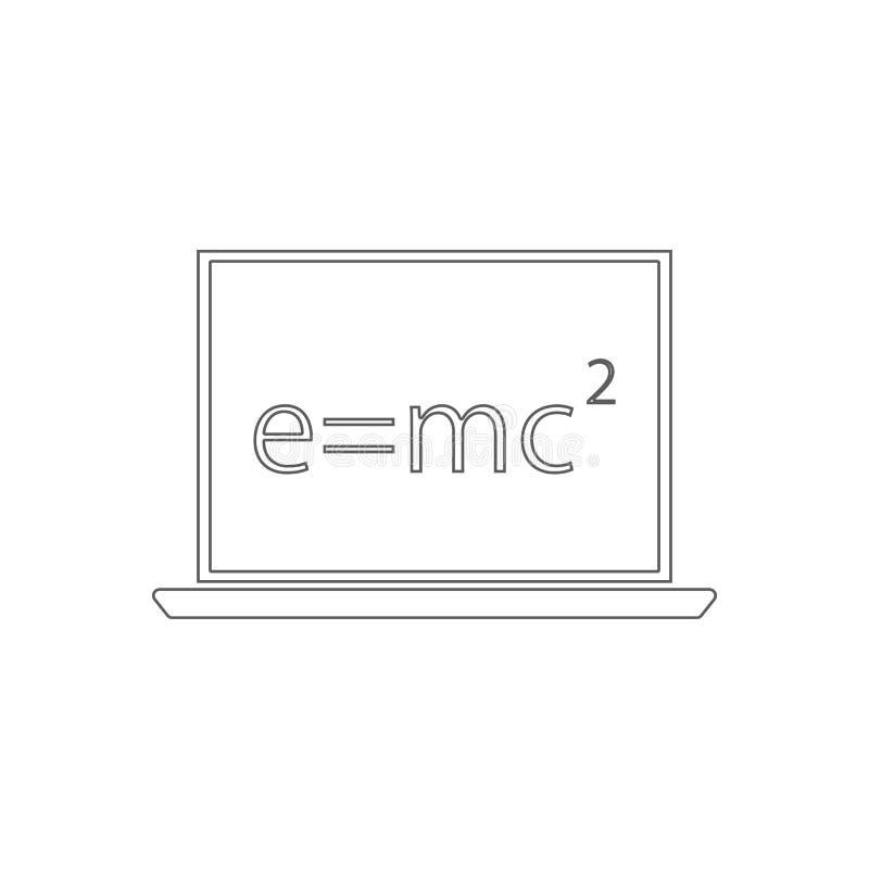 Wiskundige formule op een laptop pictogram Element van onderwijs voor mobiel concept en Web apps pictogram Overzicht, dun lijnpic stock illustratie