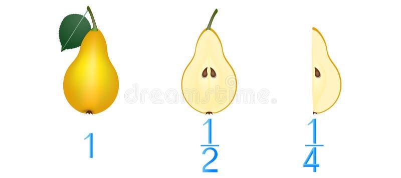 Wiskundige spelen voor kinderen Bestudeer de fractiesaantallen, voorbeeld met peren stock illustratie