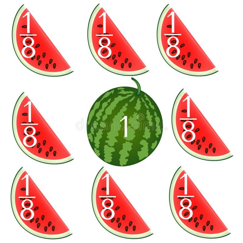 Wiskundige spelen voor kinderen Bestudeer de fractiesaantallen, voorbeeld met watermeloenen vector illustratie