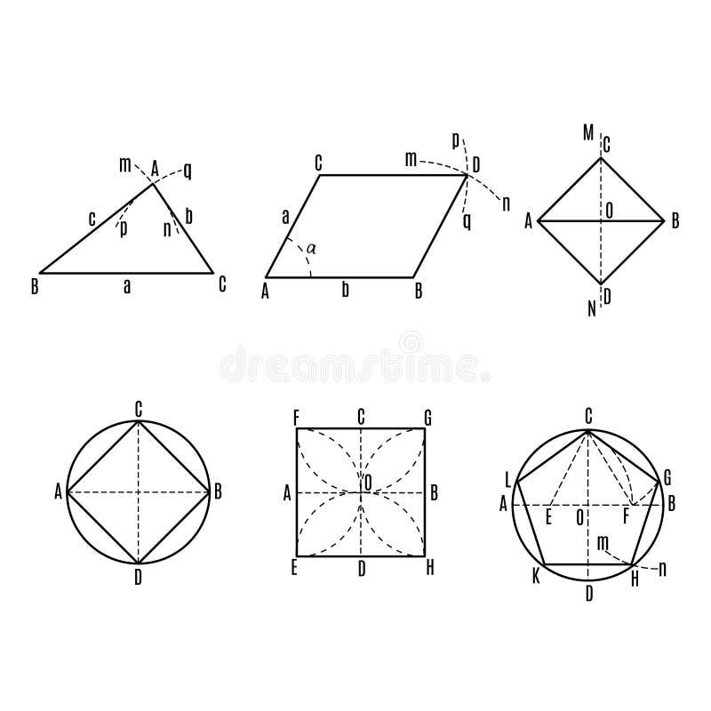 Wiskundige vector met geometrische cijfers en percelen stock illustratie