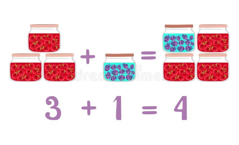 Wiskundige voorbeelden naast de kruiken van het pretglas Framboos en braambessenjam vector illustratie