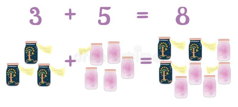 Wiskundige voorbeelden naast de kruiken van het pretglas Onderwijsspel voor kinderen De zomernacht en geuren van de zomer vector illustratie