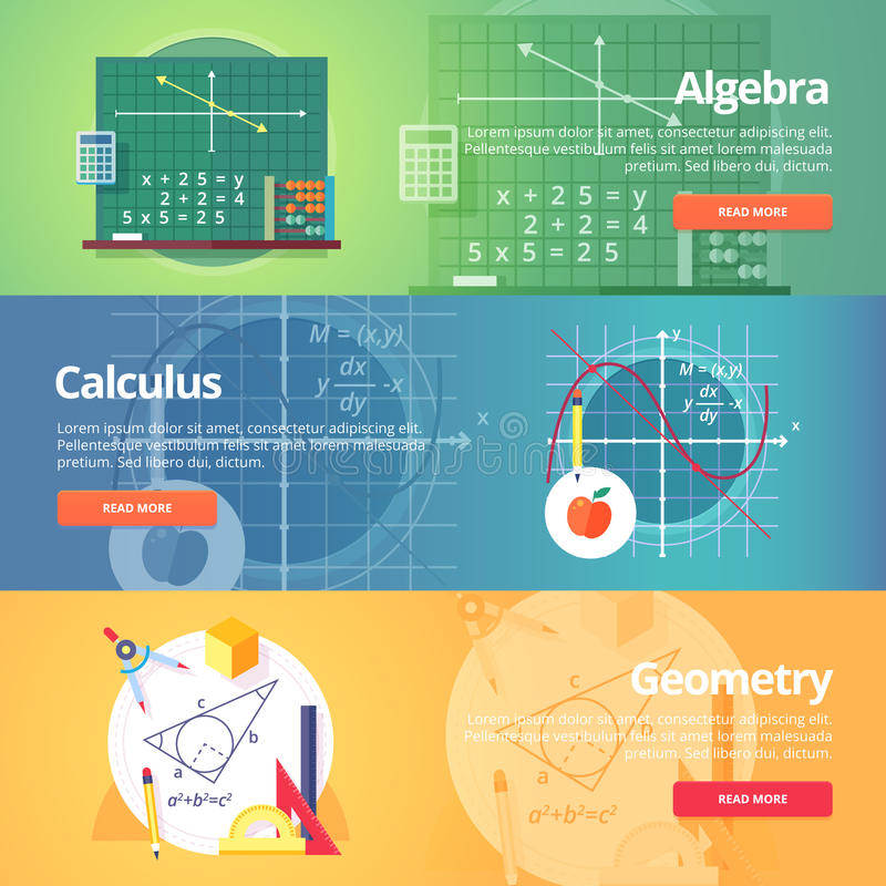Wiskundige wetenschap algebra rekening meetkunde vector illustratie
