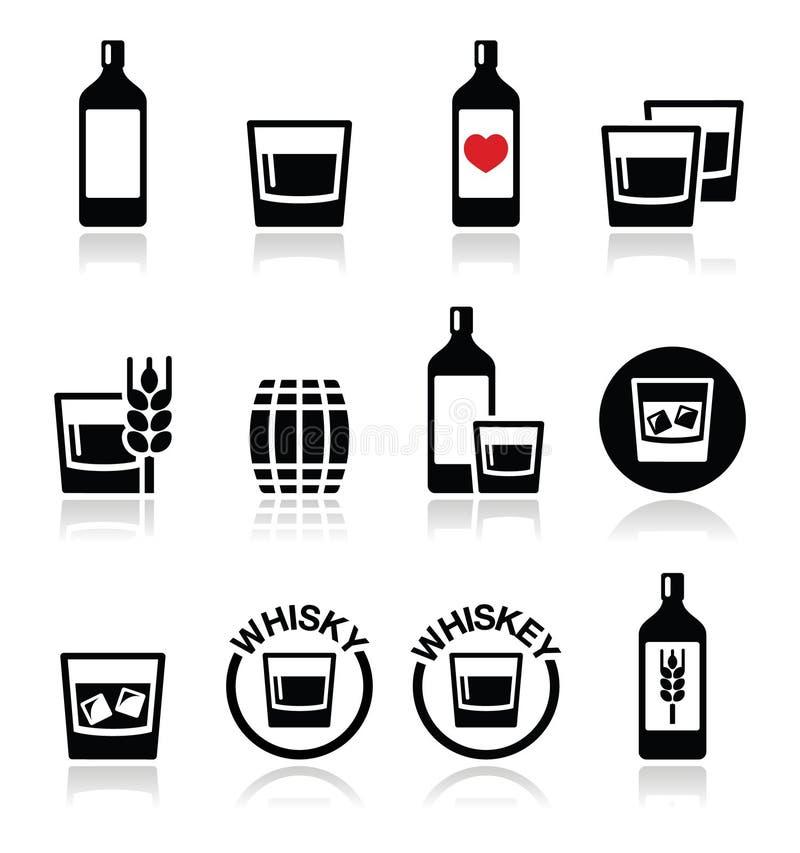 Wisky of Whisky geplaatste alcoholpictogrammen vector illustratie