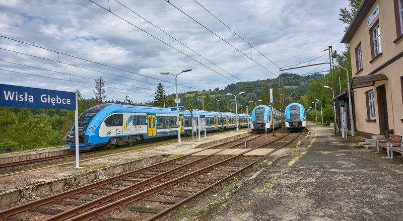 WISLA-GLEBCE, POLAND - AUGUST 11, 2019: Rail station on 11 Augus royalty free stock image