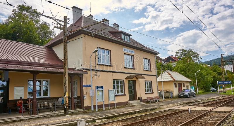 WISLA-GLEBCE, POLAND - AUGUST 11, 2019: Rail station on 11 Augus stock images