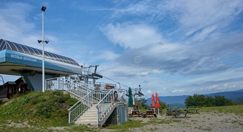 WISLA-SOSZOW, POLAND - AUGUST 10, 2019: Restaurant on the top of royalty free stock photos