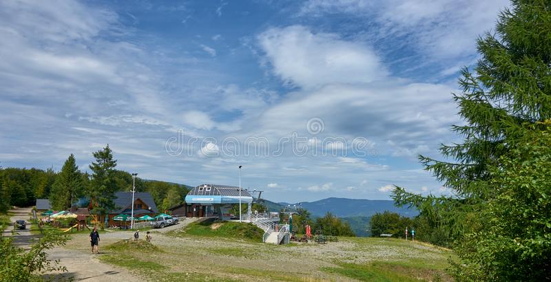 WISLA-SOSZOW, POLAND - AUGUST 10, 2019: Restaurant on the top of royalty free stock image