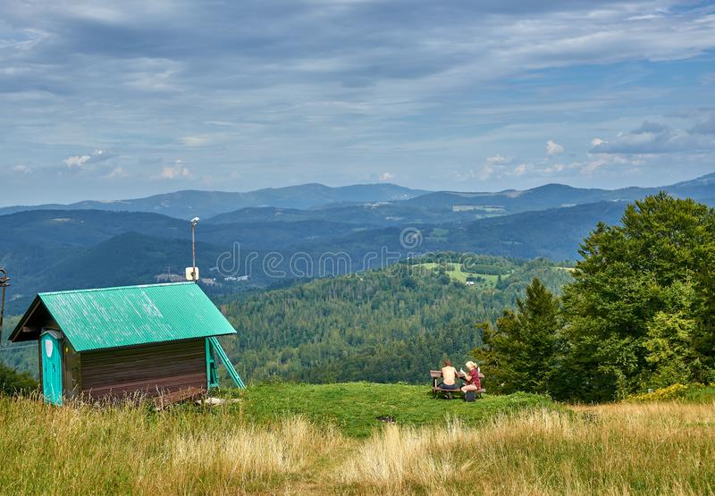 WISLA-SOSZOW, POLAND - AUGUST 10, 2019: The top of mount Cieslar stock images