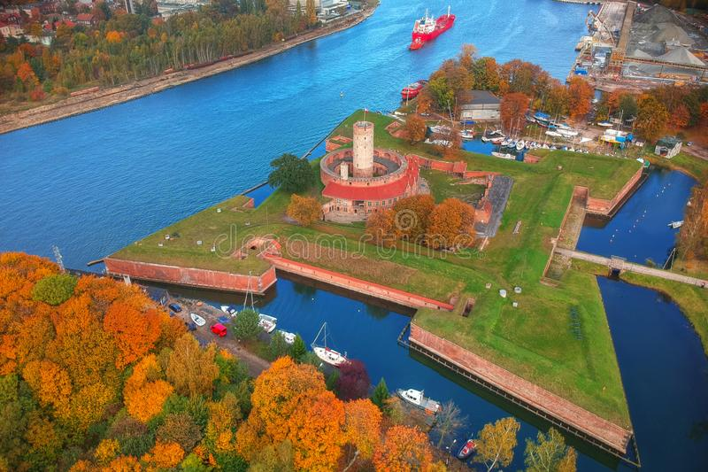 Wisloujscie fortress in autumnal scenery in Gdansk, Poland. Aerial view stock photography