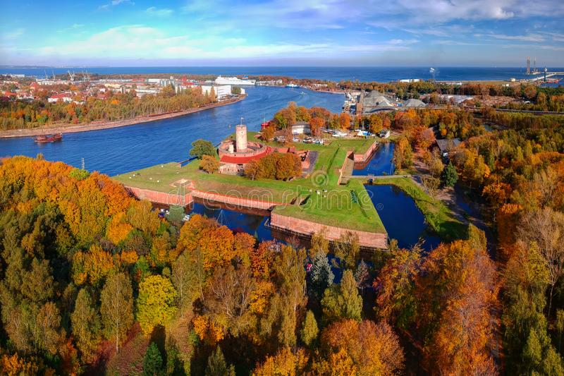 Wisloujscie fortress in autumnal scenery in Gdansk, Poland. Aerial view stock photos