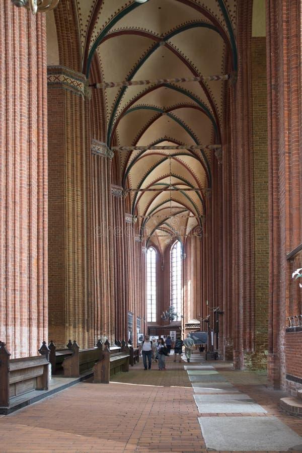 Wismar, Германия - 20-ое августа 2018 Внутренний взгляд церков Nikolai стоковое изображение rf