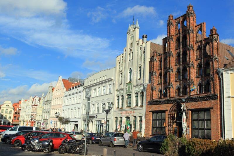 Wismar - рыночная площадь стоковые фото