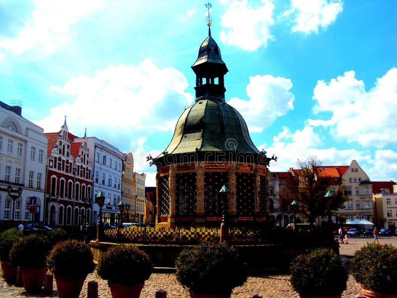 Wismar Market Square in the Old Town, Mecklenburg region, Germany stock images