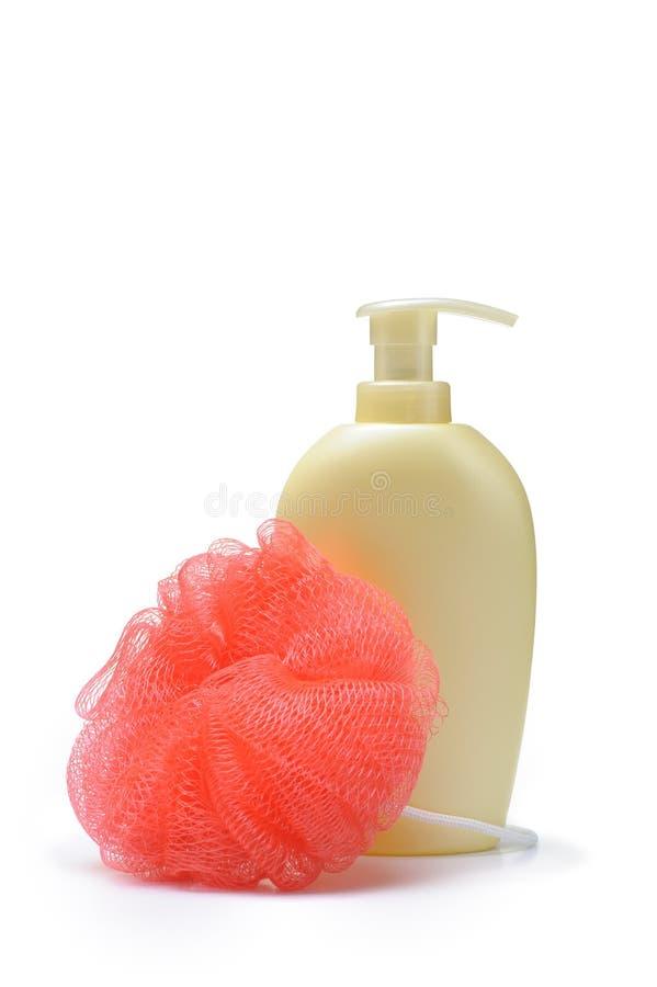 Wisp And Bottle Of Liquid Soap Stock Photos