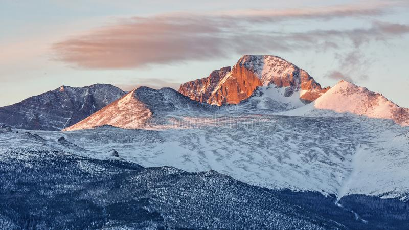 Longs Peak Spring Sunrise. A wisp of pinks clouds above Long Peak and Mt. Lady Washington at sunrise in Rocky Mountain National Park, Colorado royalty free stock images