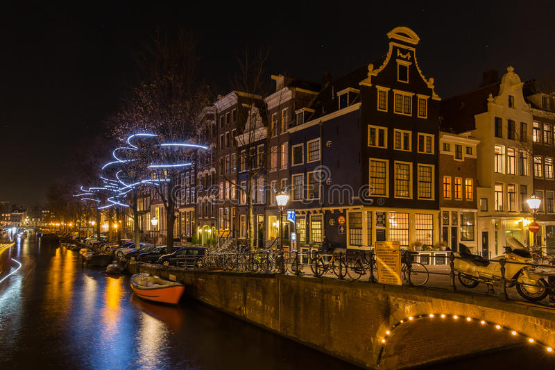 WISP by Pitaya, an artwork at the Amsterdam Light Festival 2016. WISP by Pitaya, an artwork along the Water Colors boat route of the Amsterdam Light Festival stock photography