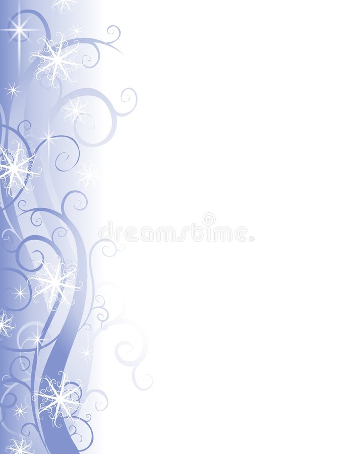 Wispy blauer Schneeflocke-Weihnachtsrand lizenzfreie abbildung