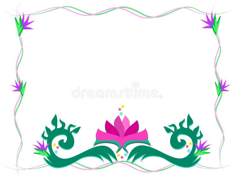 Wispy Frame with Lotus Flower vector illustration